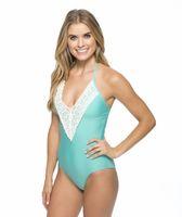 Wholesale 2016 New One Piece Swimsuit Women Plus Size Swimwear Retro Vintage Bathing Suits Beachwear Padded Lace Swim Wear