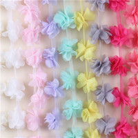 chiffon fabric - 2016NEW Yards Flowers D Petals Chiffon Leaves Trim Wedding Dress Bridal Mesh Lace Fabric DIY Craft Clothes Hair Accessories