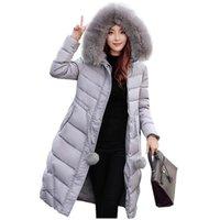 Wholesale 2016 Korean new thicken women down parka jacket coat winter warm long slim faux fur collar wadded outerwear hooded coat kp0754