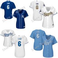 achat en gros de dame ville-Les femmes Royals de qualité supérieure authentiques de Kansas City Royals # 6 Lorenzo Cain base-ball frais de Base-ball Mailles de broderie de dames tailles S-2XL