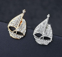 anchoring tips - Unisex Jewelry Rhinestone Sailing Boat Tip Collar Clip Brooch Pins Accessories Gift For Women Men