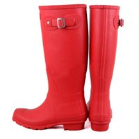Wholesale 2016 Christmas Hunter Boots Women Wellies Rainboots Ms glossy Wellington Knee Boots Ms glossy Women Wellington Boots