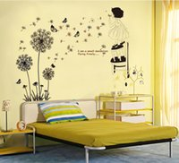 Wholesale Dandelion stick black glass decals stickers can remove paper stickers