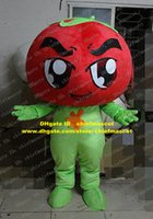 big apple clothing - Savoury Red Cherry Tomato Love Apple Mascot Costume Cartoon Character Mascotte Green Gloves Clothes Big Vaned Hat ZZ536 Free Sh