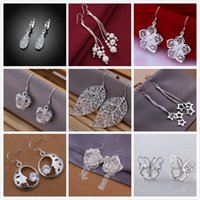 Wholesale 9 Pairs Women Earrings Silver Stud Earring Female Vintage Wedding Party Jewelry For Girls Gift For Girlfriend ER