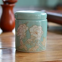 Wholesale hand painted Small Tea Canister ceramic Retro concavity sealed Tea Canister Storage Tank home decorations ornaments