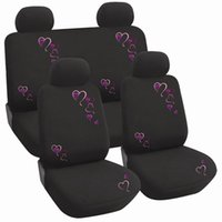 Wholesale Female Design Car Seat Covers Embroidery Heart Pattern Universal Size Anti Fade Anti Dirt Front Polyester Car Accessories for BMW