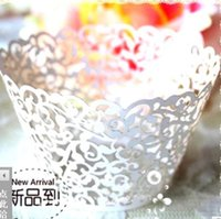 Wholesale 120pc Ivory Laser cut Lace wedding Cake Wrapper Cupcake Wrapper FOR Wedding christmas Party Decoration set of O E