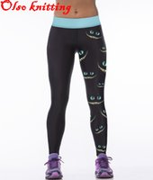 Cheap Wholesale-Sexy women 3D printer Cheshire cat Smiling face personality sports leggings fitness pants casual pencil leggings jogging joggers