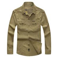 Wholesale Men Clothing military quality men s casual brand army green shirts man autumn cotton khaki black long shirt