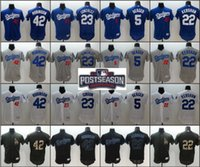 Wholesale 2016 Postseason Patch Men Los Angeles Dodgers Clayton Kershaw robinson Adrian Gonzalez Corey Seager baseball jerseys Stitched