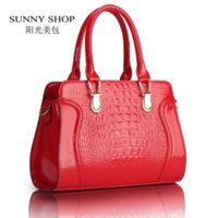 Wholesale SUNNY SHOP Fashion alligator pattern handbag patent PU leather casual shoulder bag women designer messenger bag