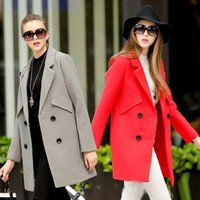Wholesale Womens Winter Wool Coats Red Grey Double Breasted Trench Coat Slim Fit Ladies Long Work Blazer Jackets Woolen Peacoat