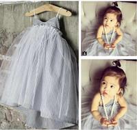 Cheap New 2016 Fashion Girls sling stripe Summer dress Baby Girls Sleeveless Sweet vest dress Princess Beach Dresses kids clothing dress