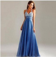 Wholesale Sexy fashion halter sequin V neck party bridesmaiddresses hot sale new arrival crystals backless long elegant prom homecoming gown dresses