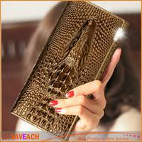 Las carpetas de cuero de la nueva de la llegada de las mujeres de la manera de la manera 3D del cocodrilo de la marca de fábrica de la marca de fábrica ocasional del monedero de las mujeres liberan el envío