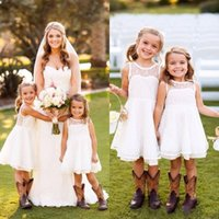 Wholesale 2016 New Toddler Cute Cheap Flower Girls Dresses Crew Neck Sleeveless Country Style Wedding Party Dresses White Ivory Tea Length Dresses