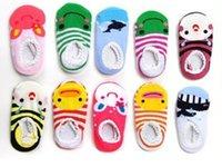 Wholesale 5 Pairs Girls Month Cartoon Baby Toddler Anti Slip Low Cut Boat Socks Kids Crew Boat Sock Random Send