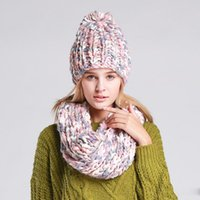 Wholesale 2016 Women New Arrival Crochet Pink Gray White Ring Infinity Scarves Knitted Woolen Cotton Pom Pom Girl Winter Scarf and Hat Set