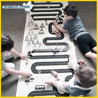 Wholesale 2016 New Kids Car Game Mats Baby Crawls Cushion Children Blanket Square Carpet For Living Room Cotton Black Printing