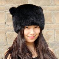 best earmuffs - real whole best mink warm smooth Fur hat female cat ears new mink fur hat lady winter earmuffs the entire winter
