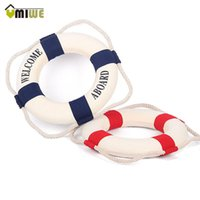 accent packaging - 35cm Navy Accent Nautical Welcome Aboard Decorative Cloth Life Ring Buoy Room Bar Home Decoration cm