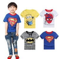 Wholesale 2016 Kids T Shirt Despicable me minions superman batman sprideman boys girls t shirt Summer cartoon children s clothing t shirt wholesales
