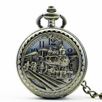 Unisex big clock necklace - PB086 New Arrive High Quality Antique Clock necklace chain Big Size Bronze Train Head Pocket Watch With Chain