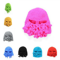 Wholesale Novelty Handmade Knitting Wool Funny Beard Octopus Hats Caps Crochet Knight Beanies Ski Face Mask Knit Hat Halloween Gift