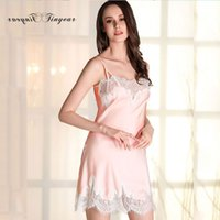 adult nighties - faux silk woman night sleepwear sleeveless hollow out lace v neck adult girl underwear nightgowns colors nightie