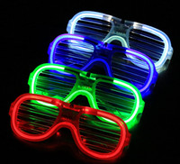 Wholesale 120X LED Light Glasses Flashing Shutters Shape Glasses LED Flash Glasses Sunglasses Dances Party Supplies Festival Decoration E1680305