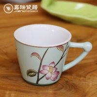 Wholesale Lovely hand made Ceramic Coffee Tea cup floral pattern china Classical style ceramic coffee Cup