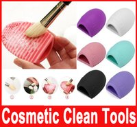 Wholesale Brushegg Cleaning Glove MakeUp Washing Brush Scrubber Board Cosmetic Brushegg Cosmetic Brush Egg colors New