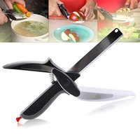 Wholesale Clever Cutter in Stainless Steel Kitchen Scissors With Sharp Knife Blade Cutting Board Food Cutter for Meat Vegetable OTH298