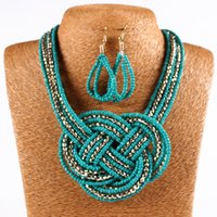 anniversary knitting - 2016 Hot Selling European and American Fashion Jewelry Set Bohemian Hand Weave Knitting Small Bead Necklace Earrings Suits