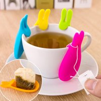 Wholesale Lovely Rabbit Tea Bag Holder Cute Silicone Cup Mug Hanging Tool Gift Coffee Tea Spoon Holder Make Your Drink Tea More Convenient