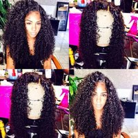 Wholesale 8A Mongolian Afro Kinky Curly Human Hair Full Lace Wigs Natural hairline Lace Front Wigs b jet balck color