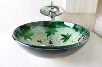 Wholesale Tempered glass Washbasin On hand washbasin Bathroom basin Hand painted pots Faucet set N