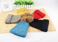 achat en gros de chapeaux beanie jaunes à vendre-Designer Populaire Femmes Rib Beanies Ladies Slouch d'hiver tricotées Pom Bonnets Femme Mode Snow Cap Noir Jaune Rouge Bleu Gris Vente de couleur unie