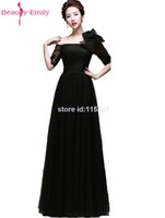 Wholesale Rumple Maxi One Shoulder A Line Half Sleeve Bow Sequin Long Prom Party Dresses Half Sleeves Evening Dress