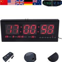 Precio de Grandes relojes de pared azul-Actualizar LED de alarma del reloj digital de gran tamaño Big Time LED Calendario escritorio de la tabla del reloj de pared de 48 cm a estrenar 1P azul / rojo / verde