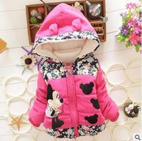 Wholesale Autumn winter children fashion cartoon baby overcoat hooded flowers warm cotton padded clothes of the girls