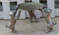 antique dog art - 9CM Chinese White Bronze Zodiac Year Animal Dog Lift tray dish plate Statue