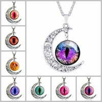 beautiful eye glasses - From moon glass Fashion silver necklace Harajuku students Evil Eye pendant chain moon beautiful scarf jewelry necklaces