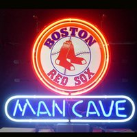 Wholesale Brand New BOSTON RED SOX MAN CAVE Real Glass Neon Sign Beer light quot X24 quot