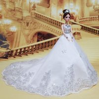 big beautiful dresses - 2016 New Dreamlike White Beautiful Dragging Wedding Dress Barbie For Girls s Fancy Wedding