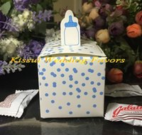 Birthday baby shower express - Newest Baby Birthday Party favors of Baby Bottle Favor Box in Pink and Blue For baby shower souvenirs box Express shipping