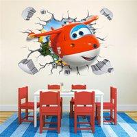 aircraft stick - 3D Broken Wall Generic cartoon Aircraft super Jett Decal Wall Sticker Decor Nursery kindergarten living room vinyl Inspiration art