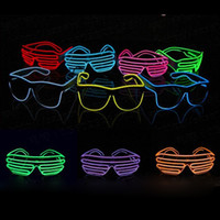 EL Glasses Fil EL mode Neon LED Glowing Sunglasses Rave Costume Party DJ Plusieurs Couleurs Black Frame