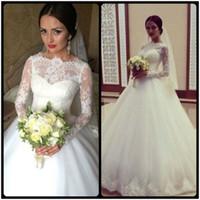 Wholesale 2017 Elegant Ball Gown Wedding Dress Appliques Lace Bridal Dress Long Sleeves Wedding Gown robe de mariage vestido de noiva